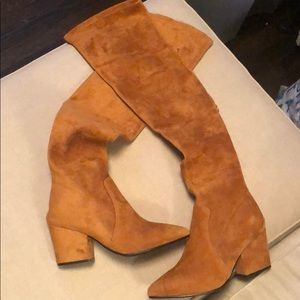 Goodnight Macron brown suede over the knee boots